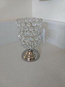 "Crystal Beaded & Metal Lantern Tea Light Candle Holder - 6"" H x 3.5"" W"