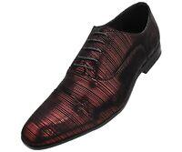 Men's Brilliant Striped Tuxedo Cap Toe Oxford Dress Shoe