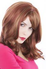 Perruque Femmes Rouge Foncé avec Mêches Blondes Frange Lisse 45 cm Gfw75-350h27