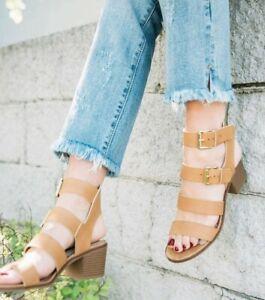 Buckle x Zigi Soho Taszia Heeled Brown Leather Heeled Sandal Shoes US 9.5