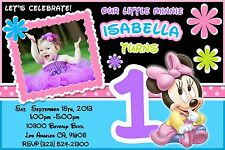 12 Printed Custom Photo MINNIE MOUSE 1ST Birthday Card Invitation Baby Girl