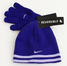 Nike Reversible Purple Knit Beanie & Stretch Gloves Girl's 4-6X  NWT