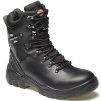 Dickies Quebec Mens Black Lined  Work Safety Boots Sizes 6-12 Steel Toe Cap