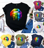 Womens Holiday Ladies T-Shirts, LGBT Lips Blouse Rainbow Casual Summer Tee Top