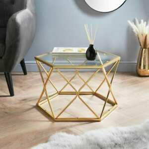Elegant Gold Hexagon Metal Coffee Table Living Room Furniture Clear Glass Top.