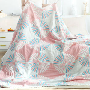 blanket for summer thin dandelion print gauze of four layers pure cotton blanket