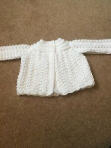 Hand knitted White baby Matinee Coat. lace Effect.size 3/6 Months