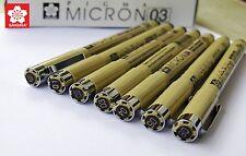 Lot 7 SAKURA Pigma Micron line Pen 005 01 02 03 04 05 08 Black for Drawing