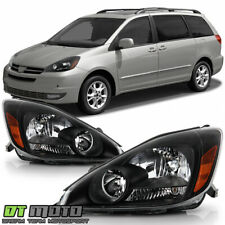 For 2004-2005 Toyota Sienna Halogen Black Headlights Headlamps 04-05 Left+Right
