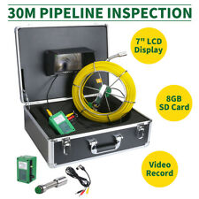 """EU 30M Fotocamera Impermeabile fogna tubo scarico Pipeline SISTEMA di ISPEZIONE 7""""LCD DVR"""