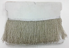 "1 Yard 6.5"" Silver Glass Seed Bead Beaded Fringe Lamp Lampshade Costume Trim"