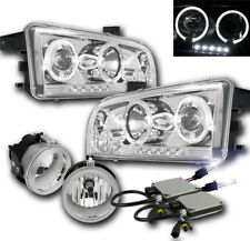 2006-2009 DODGE CHARGER CHROME PROJECTOR HALO LED HEADLIGHTs+FOG LAMP+09000K HID