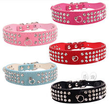 Suede Leather Crystal Rhinestones Diamante Small Pet Dog Cat Puppy Collars