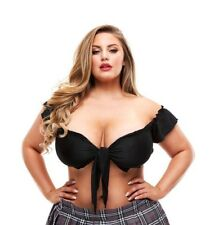 Teachers Pet School Girl Black Tie Top Off Shoulder Curve Plus Lingerie Costume