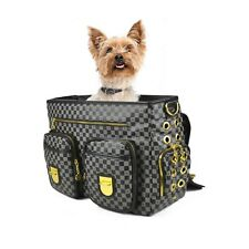 Dogs of Glamour Luxe Check Messenger Gold and Black Dog Carrier Tote Sale