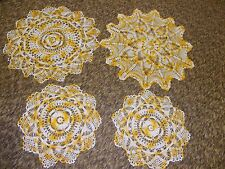 4 vintage hand crochet crocheted peach & white doilies pineapples