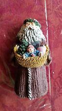 1992 Vintage June Mckenna Flat Back Santa with Christmas Basket Collectible