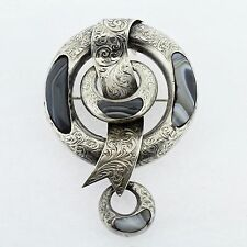 Antique Victorian Scottish Montrose Agate & Silver Buckle Brooch or Pin - VR