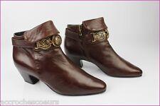 VINTAGE Bottines Boots FAIRELADY Tout Cuir Marron Acajou T 36,5 TBE