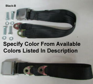 """Retro Vintage 2 Point Lap Seat Belts (2) With Mounting Kit  -Specify Color- 74"""""""