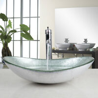 US Silver Tempered Glass Bathroom Vessel Sink Bowl W/Chrome Mixer Tap Faucet Set