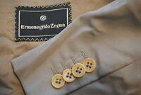 Ermenegildo Zegna Khaki Taupe Wool 2 Pc Suit Jacket Pants Sz 46R
