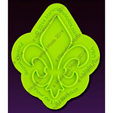 Fleur-de-Lis-Medallion Onlay Silicone Fondant Stencil by Marvelous Molds