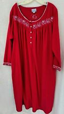 Lanz of Salzburg Long Nightgown Women's Size L Long Sleeves Red Fleece