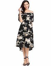 """HALINA"" GORGEOUS LADIES SIZE 16-18 BLACK FLORAL FLOWING OFF THE SHOULDER DRESS"