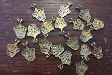 Vintage Washed Pale Gold Plate Regal Royal Jewel Crown Pendant Charms Drops Lot