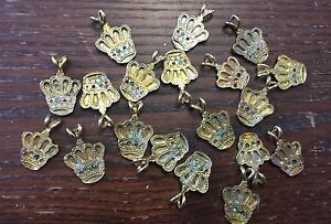 Vintage Washed Pale Gold Plate Regal Royal Jewel Crown Pendant Charms Drops Lot
