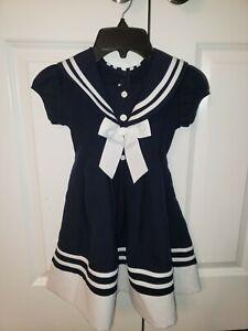 Bonnie Jean Navy And White Sailor Dress Size 4