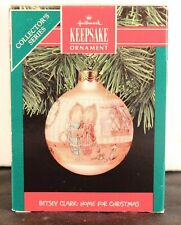 Dated 1990 Hallmark Betsey Clark Home For Christmas Glass Ornament. In Box
