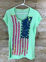 Rich & Royal Medium Women's / Junior's Top  American Flag Short Sleeve T-Shirt