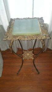 Victorian B&H Bradley & Hubbard piano oil lamp table gold metal stand green top