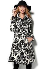 Desigual Noir & Crème Ornate Print Manteau Bnwt Taille 42 UK 14 100% Authentique!!!