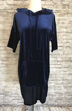 Silence & Noise Hoodie Dress Navy Velvet XS X-Small Urban Outfitters