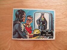 1966 TOPPS BATMAN BLACK BAT ORANGE BACK BUBBLE GUM CARD # 25 CAT WOMAN & ROBIN