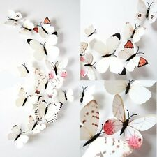 12Stk 3D PVC Magnet Schmetterlinge Wandsticker Wanddekoration Wandtattoos Weiß