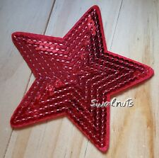 Red Star Iron on Transfer Patch Badge Sequin Embroidered Applique Motif