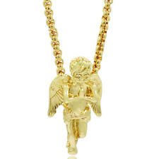 "18k Gold Plated Custom Iced Out Angel Hip Hop Pendant 24"" Round Box Chain"