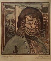 Farbholzschnitt Per Andersen Portraits Jeppe og Jacob 25 x 23 cm Denmark