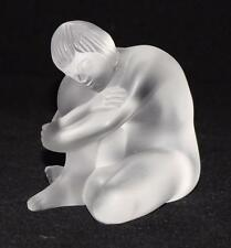 "Lalique, France Frosted Clear Crystal, 3"" Seated Sitting Nude Woman Figurine"