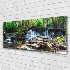Glasbilder Wandbild Druck auf Glas 125x50 Wasserfall Wald Natur