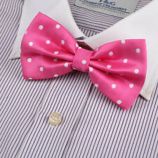 DBD3D01A Hot Pink Polka Dots Microfiber Fantastic Pre-tied Bow Tie By Dan Smith