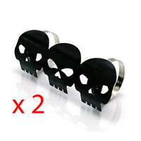 2 x Black Skull Metal Exhaust Heat Shields Guards for Motorbike Motorcycle Trike