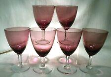 VICTORIAN  AMETHYST BOWL CUT STEM GLASS   WINE  X 6