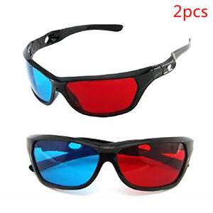 2pcs Frame Red Blue 3D Glasses For Dimensional Anaglyph Movie Game DV LD