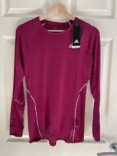 Adidas Women's Cerise Pink Long Sleeve Running Exercise T-Shirt Top, M (12-14)