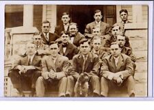 Real Photo Postcard RPPC - Group of Men Fraternity Brothers? with Pit Bull Dog